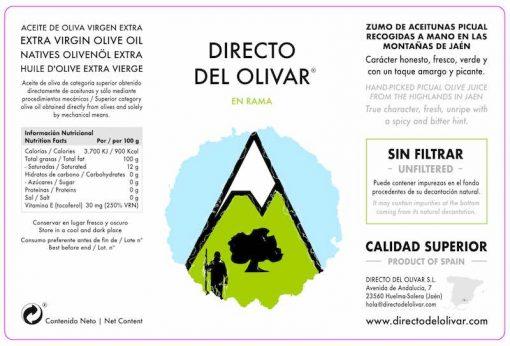 Directo del Olivar sin filtrar etiqueta