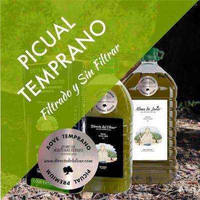 Aceite de Oliva Virgen Extra PICUAL VERDE COSECHA TEMPRANA