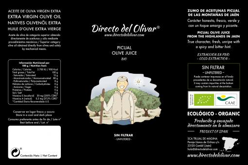 Directo del Olivar ecológico etiqueta