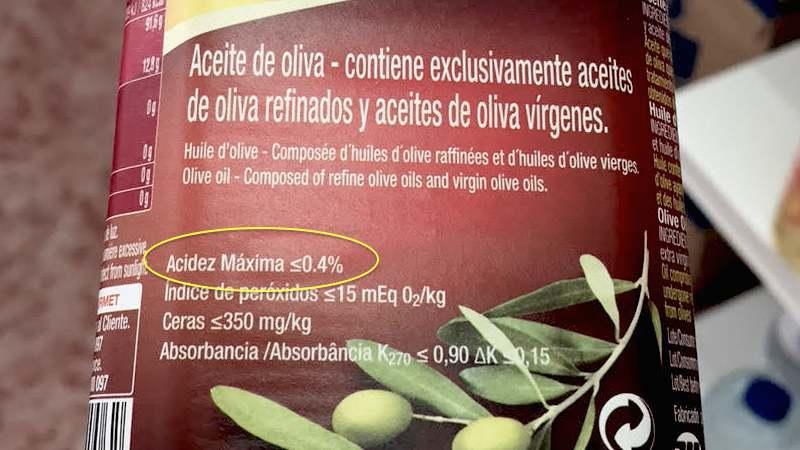 Acidez aceite de oliva refinado