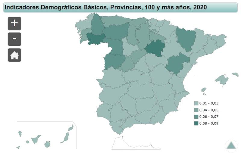 Personas centenarias en España